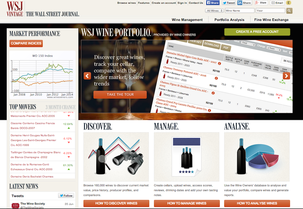 WINE OWNERS POWERS WINE APPRECIATION AND MANAGEMENT TOOL FOR THE WALL STREET JOURNAL