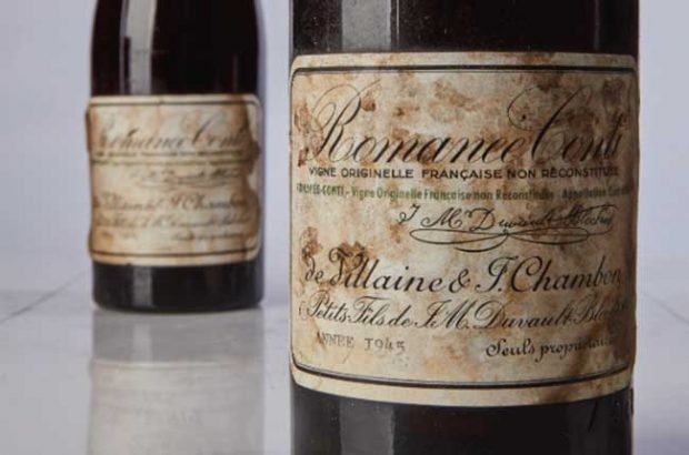 The La Romanée-Conti 1945 that became the most expensive wine sold at auction. Credit: Sotheby's