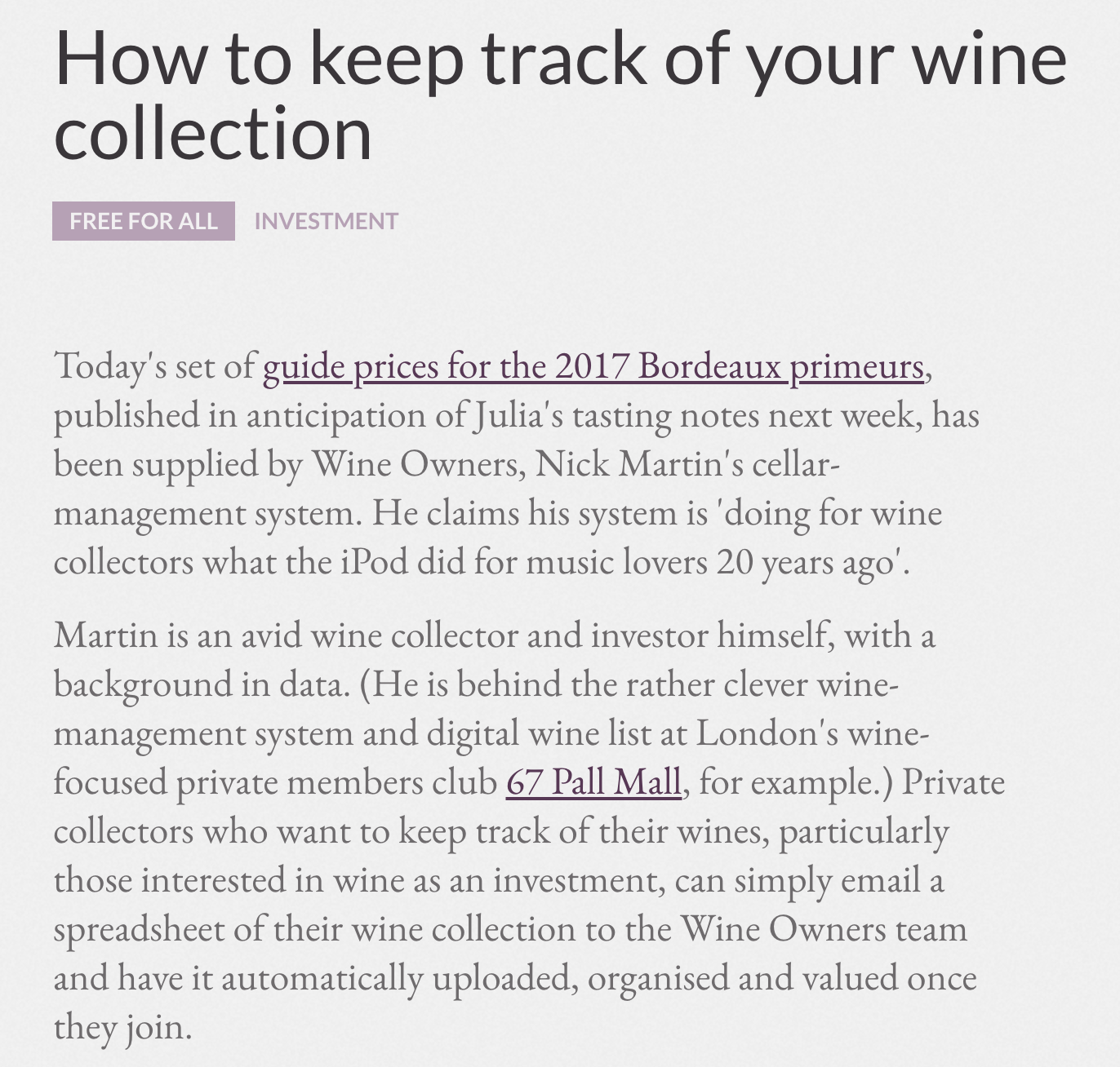 Jancis Robinson - How to keep track of your wine collection